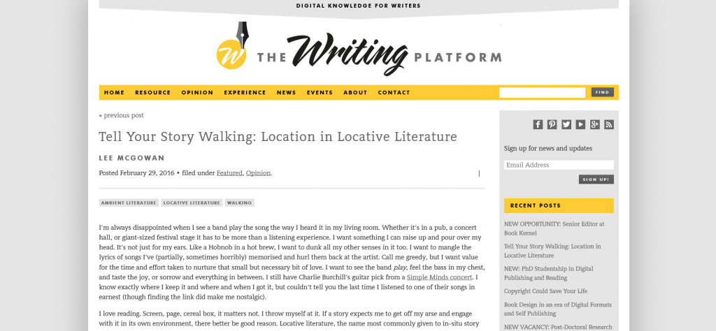 Tell Your Story Walking Location in Locative Literature